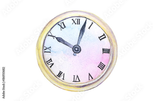 watercolor old clock abstract isolated on white background © atichat