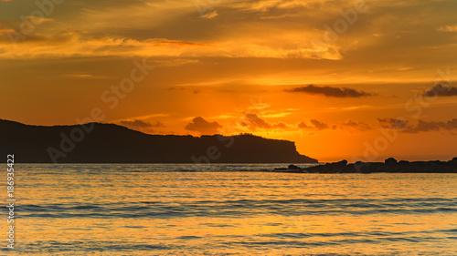 Poster Oranje eclat Sunrise Seascape