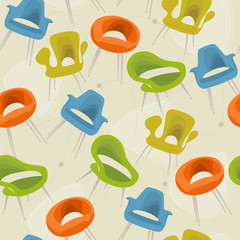 Retro Modern Chair Seamless Pattern