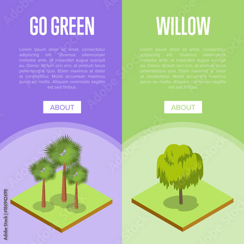 Fotobehang Lime groen Go green concepts with palm and willow trees