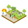 Cage with zebras isometric 3D icon
