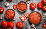 Tomato sauce with spices and herbs. - 186945464