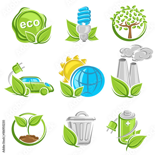 Fototapeta Collection ecology icons. Vector