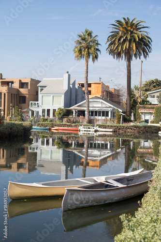 Serene midday in The Venice Canal Historic District, Los Angeles, California. The district is noteworthy for its man-made canals built in 1905 by developer Abbot Kinney.