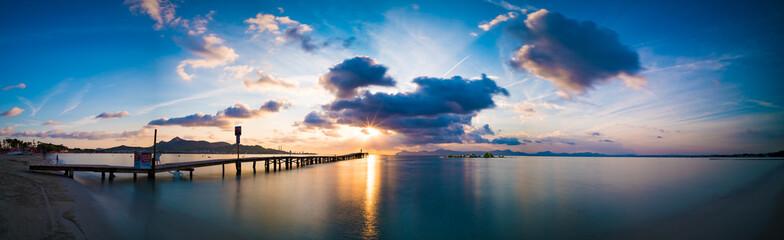 Sunset on sea panorama