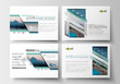 Set of business templates for presentation slides. Flat design blue color travel decoration layout, easy editable vector template, colorful blurred natural landscape.