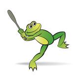 happy frog vector cartoon or mascot playing base ball - 186958255