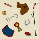 set equestrian  riding cute whip horseshoe saddle prize bit numnah apple carrots brush - 186960216