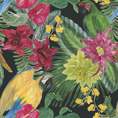 Watercolor painting seamless pattern with parrot and tropical floral composition