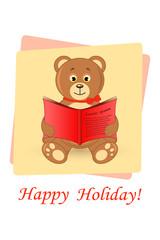 cute bear teddy. card greeting happy holiday