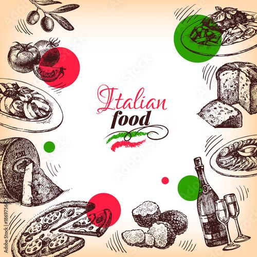 Restaurant Italian cuisine menu design. Hand drawn sketch vector illustration
