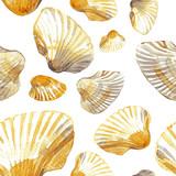 Watercolor seamless pattern of sea shells. - 186978475