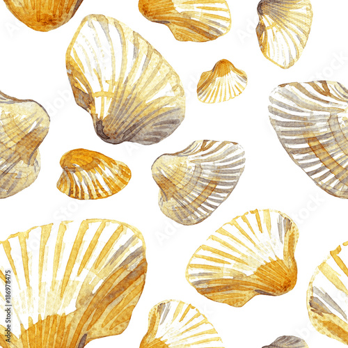 Materiał do szycia Watercolor seamless pattern of sea shells.