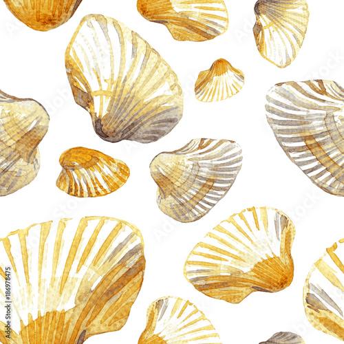 Cotton fabric Watercolor seamless pattern of sea shells.