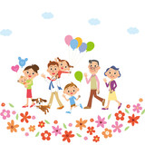 お花の中を散歩する三世代家族