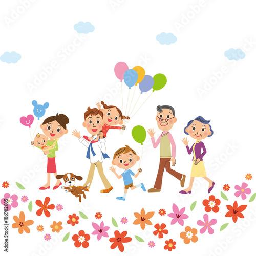 お花の中を散歩する三世代家族 - 186982085