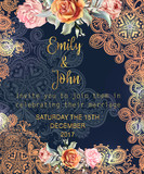 Beautiful vector invitation card with flowers and boho ornament - 186992082