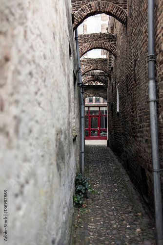 Poster Smal steegje Narrow medieval alley in dutch city. Deventer, Overijssel, Netherlands.