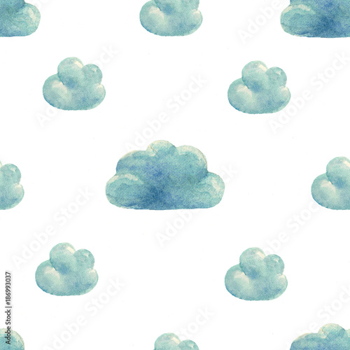 Watercolor clouds pattern