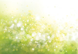 Vector green lights, bokeh background. Spring background.