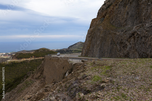 Mountain road. Landscape with rocks, Highway in mountains. Transportation. morocco