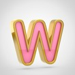 Pink letter W uppercase with golden outline isolated on white background.