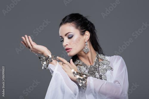 Sensual belly dancer performance portrait