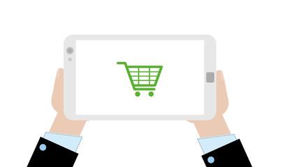 Geschäftsmann mit Tablet - Einkaufwagen
