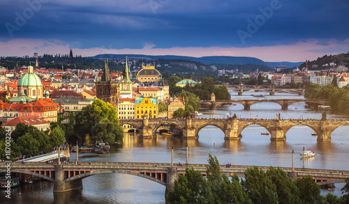 Famous iconic image of Charles bridge, Prague, Czech Republic. Concept of world travel, sightseeing and tourism. - 187002243
