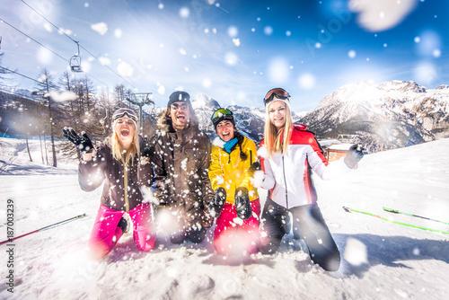 Friends on winter holidays - 187003239