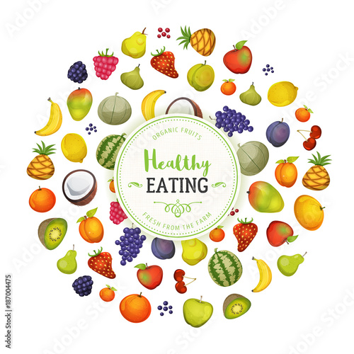 Healthy Eating With Fruits Background