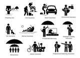 General Insurance Protection. Stick figures depicts general insurance for property loss, fire, motor, commercial, pet, marine, TV, employer liability, reinsurance, renter, and professional indemnity.  - 187004695