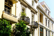 Street view of modern buildings in Athens, Greece