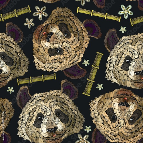Embroidery panda head, bamboo forest and flowers seamless pattern. Classical embroidery portrait of funny panda bear pattern. Fashion template for clothes, textiles, t-shirt design