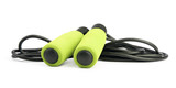 Green jump rope or skipping rope isolated on white background. Sports, fitness, cardio, martial art and boxing accessories. - 187006430