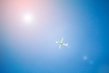 Airplane flying with blue sky - 187016283
