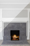 Active Modern Fireplace - Illustration Drawing diagonal Split screen to Photograph - 187017848