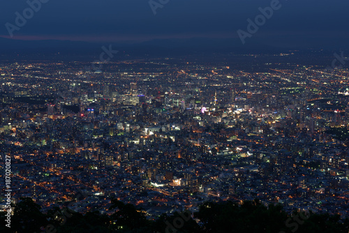 Foto op Canvas Nachtblauw Sapporo city night view from Mount Moiwa, Sapporo, Hokkaido, Japan