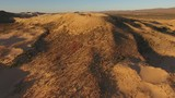 Aerial view of massive sand dunes in the arid region of the Northern Cape, South Africa - 187021643