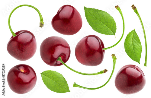 Fotobehang Kersen Cherry isolated on white background. Cherries collection