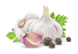 Garlic with parsley and spices isolated on white background - 187027871