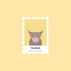 Taurus Horoscope Set Cute Illustration of Zodiac Signs in Cartoon Flat Style Vector
