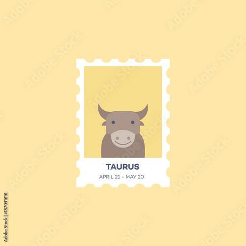 Taurus Horoscope Set  Cute Illustration of Zodiac Signs in Cartoon Flat Style Vector