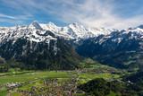 View on Bernese Alps from Harderkulm above Interlaken in Switzerland