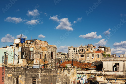 Signs of the decay on the roofs of the capital of Cuba: Havana