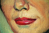 smiling woman face close-up, oil on a texture canvas, painting, illustration