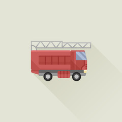 fire truck vector icon flat style