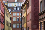Colorful historic tenement houses at the old town of Warsaw, Poland - 187052452