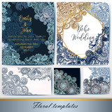 Collection of vector invitation templates with traditional Indian ornament - 187057894