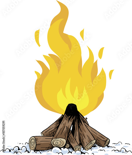 A cartoon pile of wood fueling a blazing, hot campfire. - 187059291